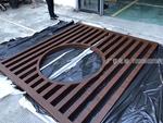 景区建设工程木纹铝屏风型材定制