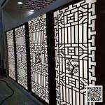 外立面木紋鋁合金格柵鋁窗花定制