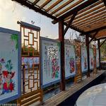 大堂铝合金屏风-中式木纹花格屏风