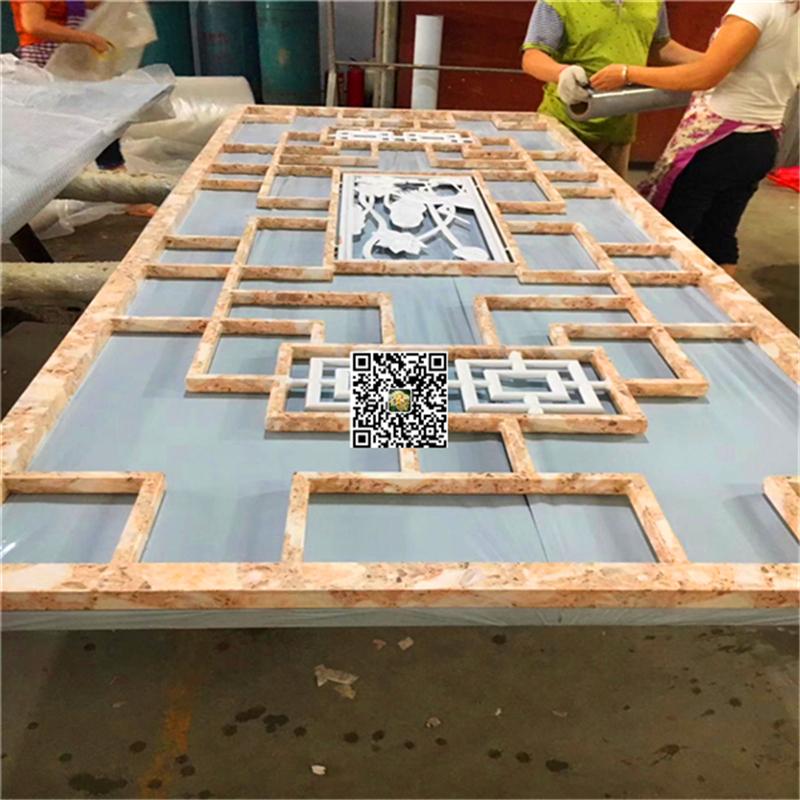 廊架热转印木皮铝挂落-回字形铝花格