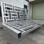 中式木纹格子铝合金木纹铝花格定制