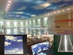 F一层泳池弧顶UV打印蓝天铝单板厂