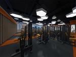 現代健身會所天花吊頂裝飾鋁單板