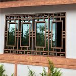 造型铝方管焊接木纹铝合金窗花厂家