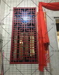 幕墙定制铝花格隔断-仿木纹铝屏风
