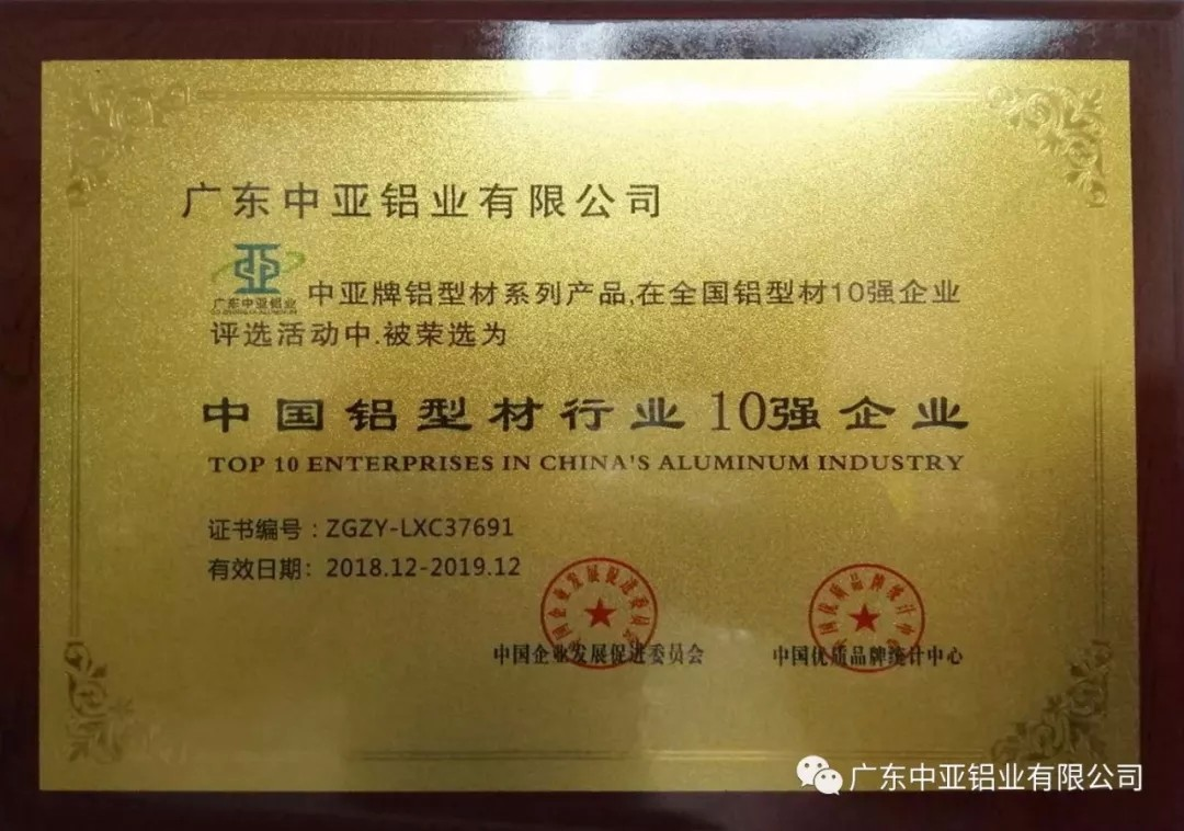 中國鋁型材行業10強證書